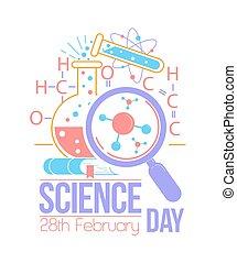 ciência, nacional, cartão cumprimento, dia