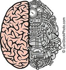 ciência, negócio, cérebro, desenho, maquinaria, ícone