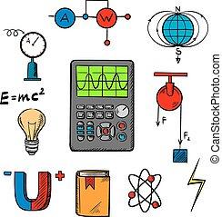 ciência, objetos, física, ícones