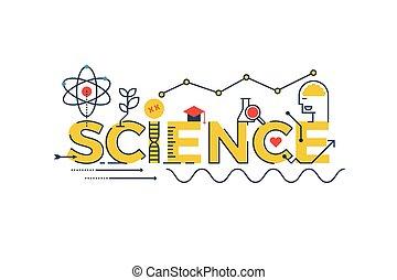 ciência, palavra, ilustração