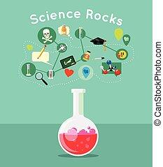 ciência, vetorial, ilustração, apartamento