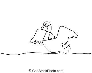 ciągły, drawing., łabędź, jeden, logo, kreska