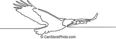 ciągły, eagle., illustration., przelotny, jeden, wektor, kreskówka