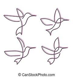 ciągły, ilustracja, jeden, ptak, wektor, kreskówka