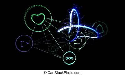 ciągnąć, ikony, fałdzisty, lekki, sieć, przeciw, stosunek