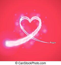 ciągnąć, od, samolot, podobny, serce, wektor, tło