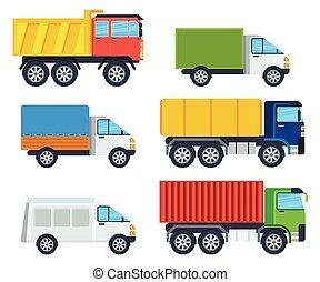 ciężarówki, rysunek, wektor, wzory, zbiór