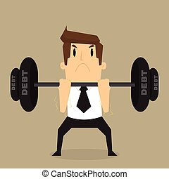 ciężar, ciężki, biznesmen, dług, podnoszenie