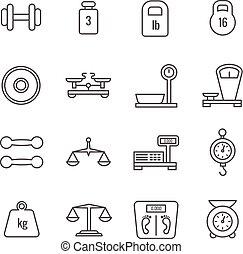ciężar, ikony, skalpy, waga, wektor, mierzenie, cienka lina, waga