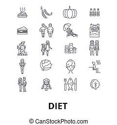 ciężar, ruch, strokes., projektować, znaki, concept., tłuszcz, odizolowany, zdrowie, płaski, szczupły, linearny, strata, symbol, editable, jadło, icons., ilustracja, kreska, wektor, stosowność, dieta, żywienie