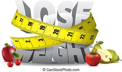 ciężar, zgubić, tekst, miara, taśma, owoce