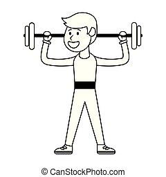 ciężary, atleta, czarnoskóry, biały, podnoszenie