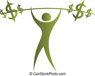 ciężary, symbol, dolar, podnoszenie, ludzki