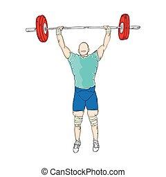 ciężary, weightlifter, człowiek