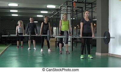ciężki, ciężar, ludzie, sala gimnastyczna, dźwig, synchronously
