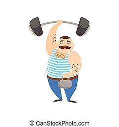 ciężki, cyrk, ciężar, pokaz, strongman, spełnianie, dwa, siła, dzierżawa, wyczyn, demonstracja, człowiek