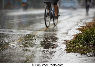 ciężki deszcz, droga