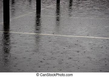 ciężki deszcz