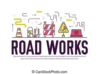 ciężki, fabryka, slogan, illustration., ludzie, tekst, concept., pojazd, typografia, wektor, cienki, utrzymanie, zrobienie, kreska, design., chorągiew, droga, szkic