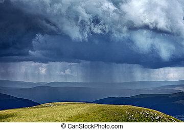 ciężki, góry, deszcz