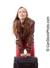 ciężki, kobieta, podwiezienia, walizka