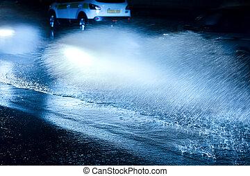 ciężki, napędowy, wozy, woda, plamy, wóz, wheels., rain.