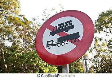 ciężki, nie, znak, słup, wózek, handel