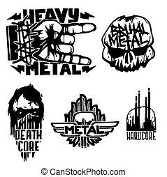 ciężki, odgłos, etykiety, emblemat, czaszka, rocznik wina, rzeźnik, twardy, punk, ilustracja, symbolika, wektor, muzyka, skała, druk, odznaka