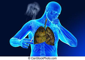 ciężki, papieros, palacz