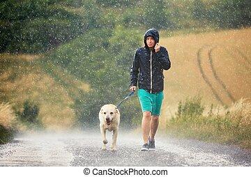 ciężki, pies, deszcz, człowiek