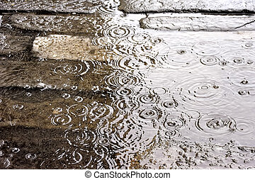 ciężki, podtapiany, deszcz, droga