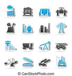 ciężki, przemysł, ikony