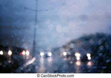 ciężki, rain., droga, prospekt