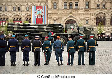 ciężki, skwer, 6, uczestniczyć, 6:, -, wojna, czerwony, wieloraki, może, moskwa, moskwa, powtórka, rszo, smerch, wielki, wyrzutnia, 2010, honor, rakiety, zwycięstwo, patriotyczny, rosja