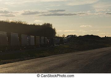 ciężki, szeroki wędkują, ciężarówki, -, dżem, handel, zachód słońca