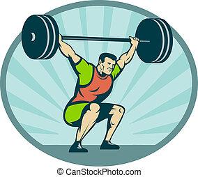 ciężki, tło., ciężary, weightlifter, sunburst, podnoszenie