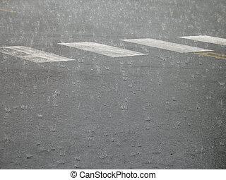 ciężki, ulica, deszcz