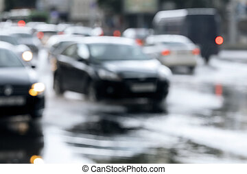 ciężki, woda, wozy, deszcz, zamazany, kałuże, ulica, podczas, droga, prospekt