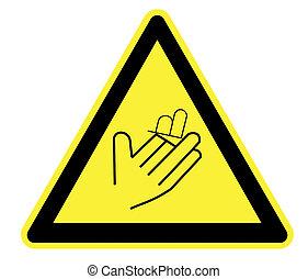cięcie, żółty, ostrzeżenie triangel
