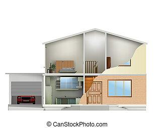 cięty, dom, wnętrza, wektor, facade., część