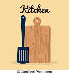 cięty, ikona, sprzęt, spatule, kuchnia, deska