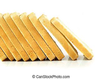 cięty, odizolowany, tło, świeży, biały chleb