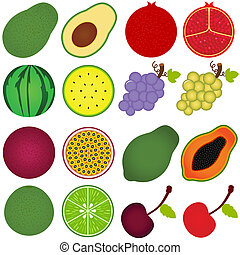 cięty, pół, owoc, świeży