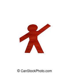 cięty papier, tło, biały na zewnątrz, czerwony, człowiek