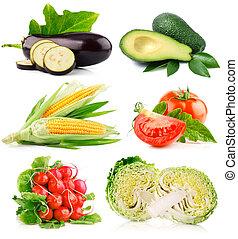 cięty, warzywa, komplet, zielony, świeży, liście