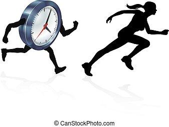 ciśnienie, czas, ścigany, zegar