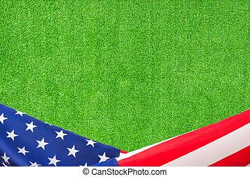 ci bandiera, verde, artificiale, fondo, erba, bordo