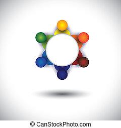 ci, concept, werkmannen , werknemers, vector, vergadering, of, stafmedewerkers