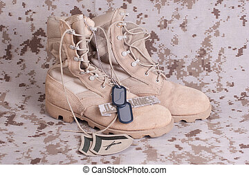 ci, marines, concetto, con, armi da fuoco, stivali, e, camouflaged, uniforme