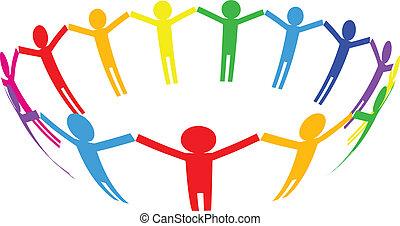 ci, színes, emberek, -, vektor, ikon